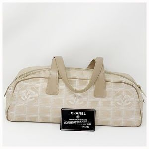 Chanel Authentic Slik logo Canvas Shoulder Bag